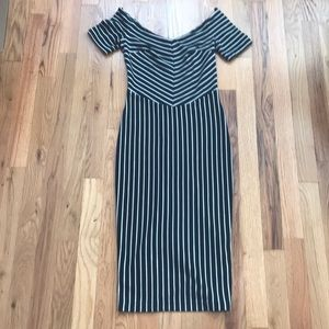 ASOS Petite off the shoulder striped dress